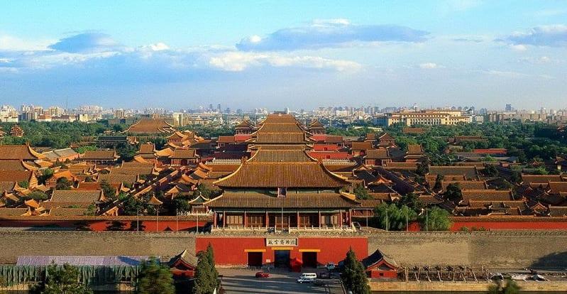 Vista área de la entrada a la ciudad prohibida - China