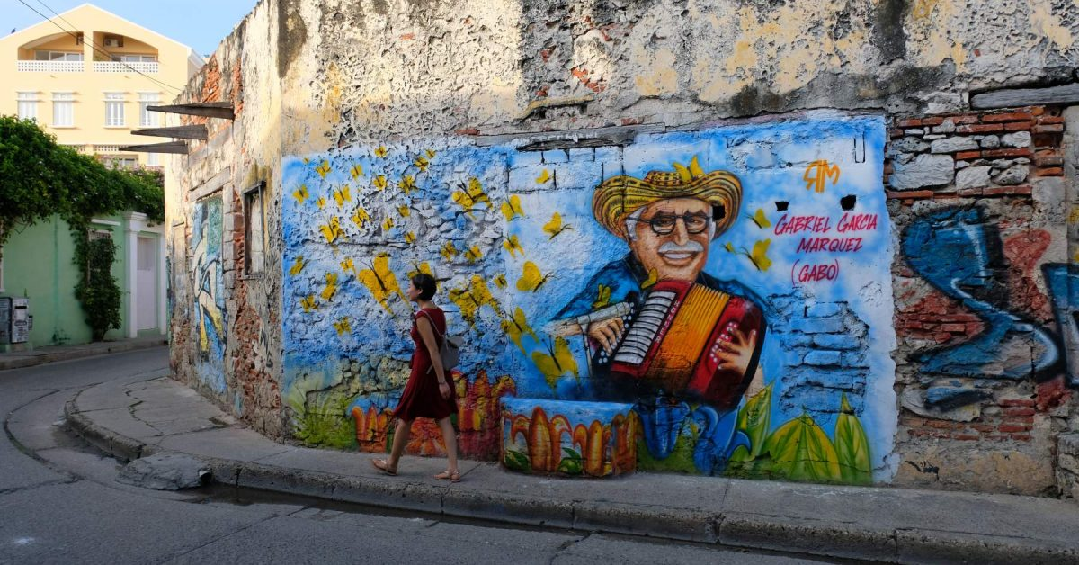 Mural de Gabriel Garcia Marquez en el barrio de Getsemani, Cartagena de Indias