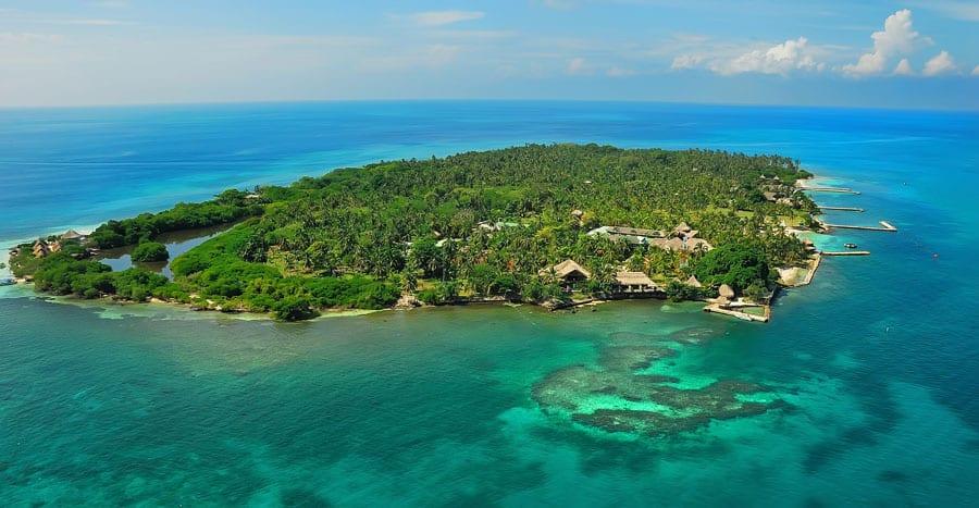Vista aérea de las Islas del Rosaio, Cartagena de Indias